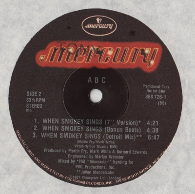 ABC - When Smokey Sings - 12 inch vinyl - www.jiggyjamz.com