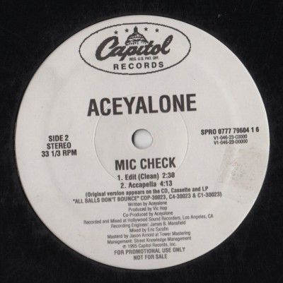 Aceyalone - Mic Check - vinyl record - www.jiggyjamz.com