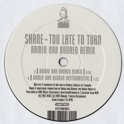 Shane - Too Late To Turn (Armin Van Buuren Remixes) 12 inch vinyl - www.jiggyjamz.com