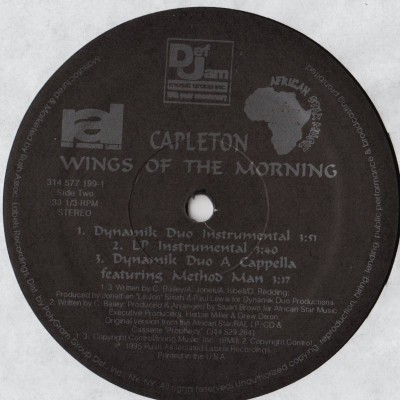 Capleton Featuring Method Man - Wings Of The Morning - ragga hiphop vinyl - www.jiggyjamz.com