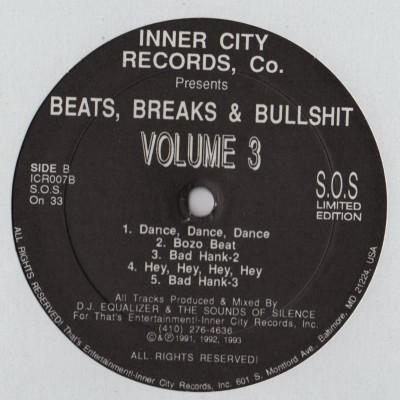 DJ Equalizer and Sounds Of Silence, The - Beats, Breaks and Bullshit Volume 3 - vinyl - www.jiggyjamz.com
