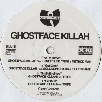 Ghostface Killah - Drummer - clean versions - vinyl - www.jiggyjamz.com