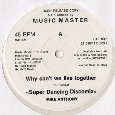 Mike Anthony - Why Can't We Live Together - Disco vinyl record - white vinyl - www.jiggyjamz.com