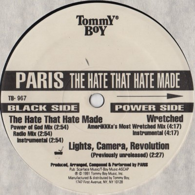 "Paris - The Hate That Hate Made - 12"" vinyl single - www.jiggyjamz.com - hardcore Hip-Hop vinyl"