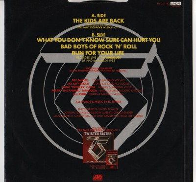 "Twisted Sister - The Kids Are Back - 12"" single - vinyl - www.jiggyjamz.com"