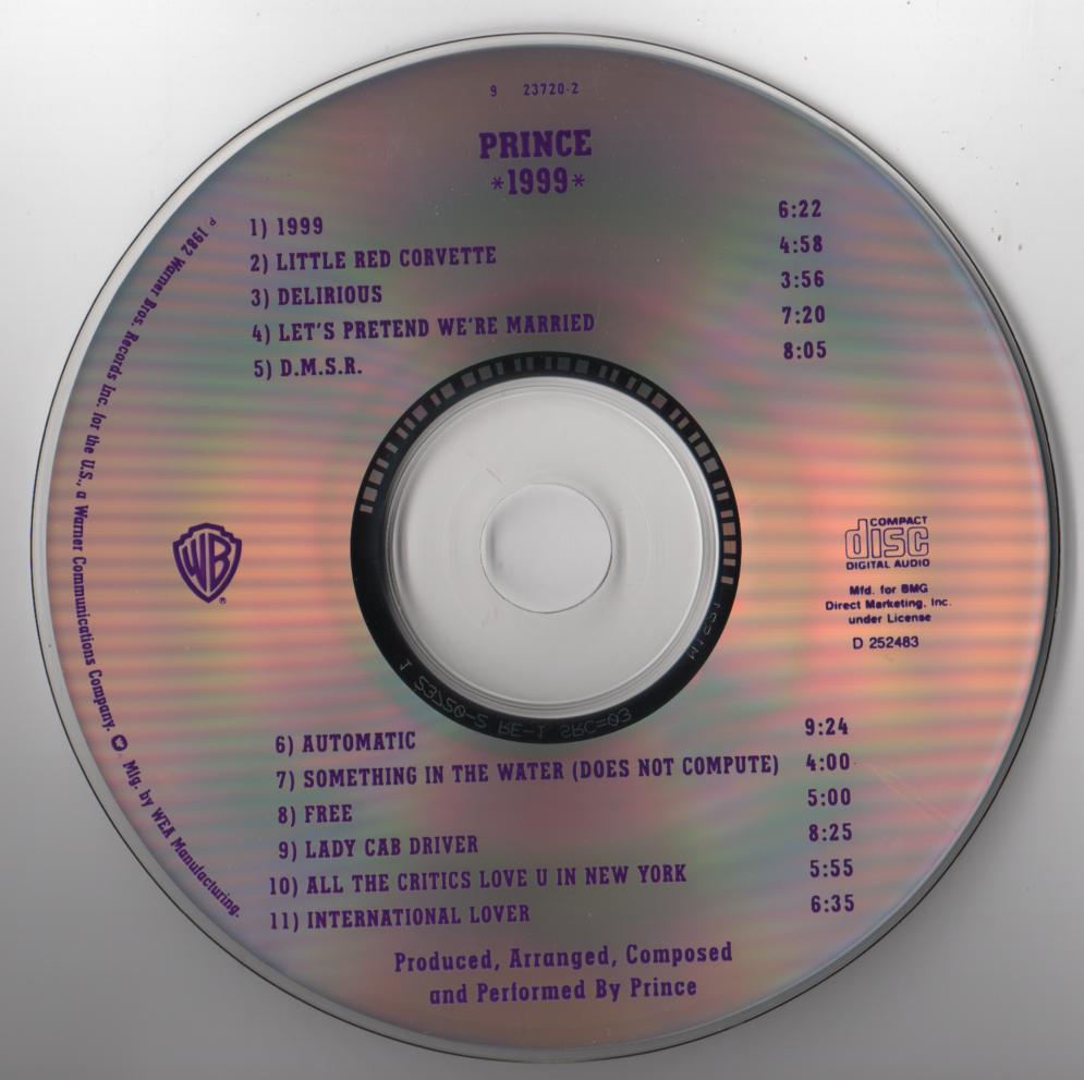 Prince 1999 Cd Club Jiggyjamz Vinyl Records And Cds