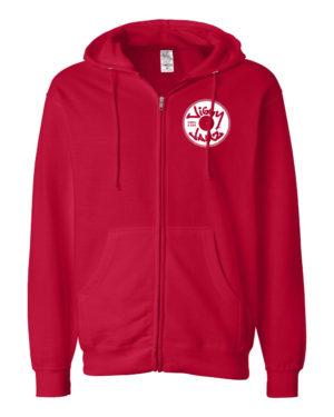 White on red zip hood - JiggyJamz Sweatshirt