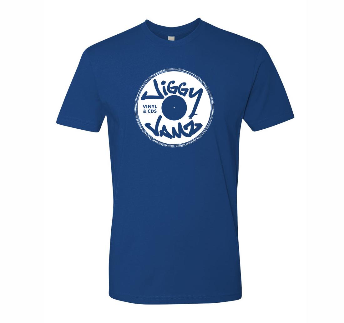 Jiggyjamz white logo tee mens jiggyjamz vinyl records for T shirt printing madison wi